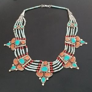 Turquoise/Coral Sterling Silver Necklace